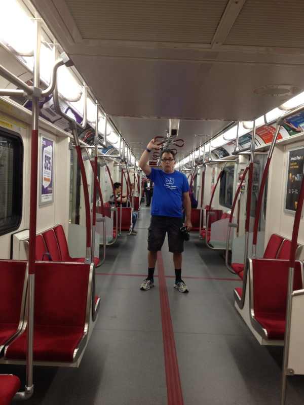 Rob taking the Subway Train in Toronto