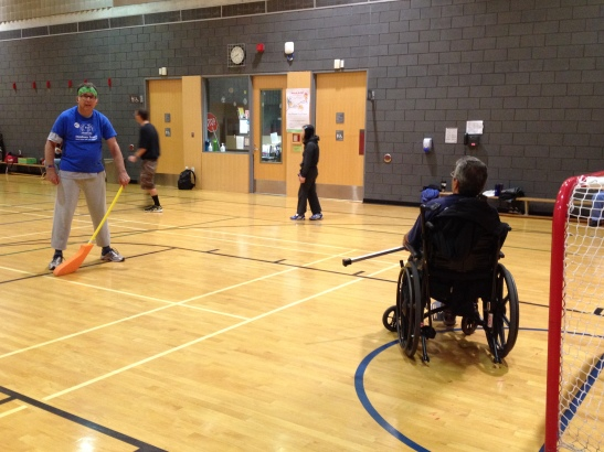 Rob at Hockey Night - a CHIRS program for persons of all abilities to have fun playing floor hockey in teams